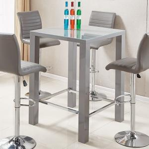 Jam Modern Glass Bar Table Square In Grey High Gloss