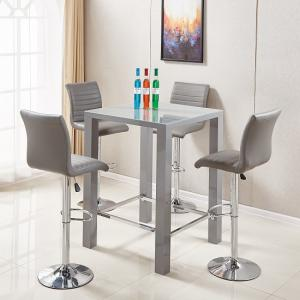 Jam Glass Bar Table Set Square In Grey Gloss And 4 Ripple Stools