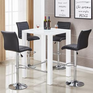 Jam Glass Bar Table Set In White Gloss 4 Ripple Black Stools