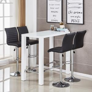 Jam Glass Bar Set Rectangular White Gloss 4 Ripple Black Stools