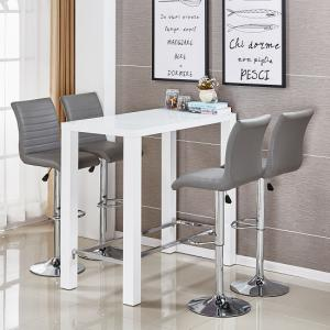 Jam Glass Bar Set Rectangular White Gloss 4 Ripple Grey Stools