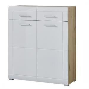 James Shoe Cabinet In Noble Beech and High Gloss White Fronts