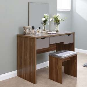 Jamestown Wooden Dressing Table Set In Walnut And Grey