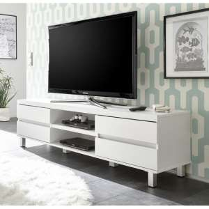 Janny Wooden TV Stand In Matt White With Silver Legs