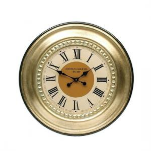 Jasmine Wall Clock Round In Gold Leaf
