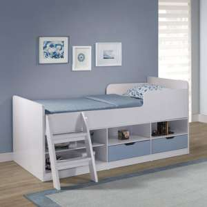 Jasper Low Sleeper Children Bed In White And Blue High Gloss