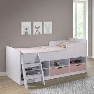 Jasper Low Sleeper Children Bed In White And Pink High Gloss