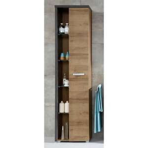 Java Bathroom Storage Cabinet In Dark Cement Grey And Oak