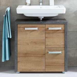 Java Bathroom Vanity Unit In Dark Cement Grey And Oak