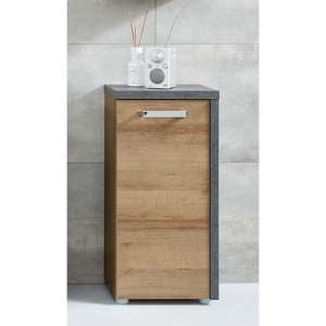 Java Floor Storage Cabinet In Dark Cement Grey And Oak