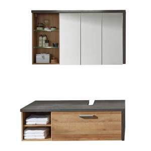 Java LED Bathroom Furniture Set 3 In Dark Cement Grey And Oak