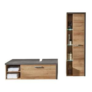 Java LED Bathroom Furniture Set 5 In Dark Cement Grey And Oak