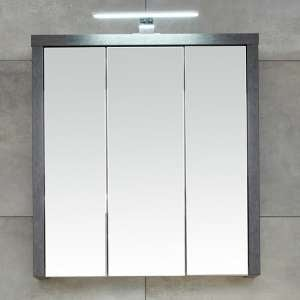 Java LED Bathroom Mirrored Cabinet In Oak And Dark Cement Grey