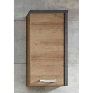Java Wall Hung Storage Cabinet In Dark Cement Grey And Oak