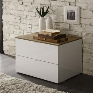Jaxon Bedside Cabinet In Glossy White Lacquer And Honey Oak