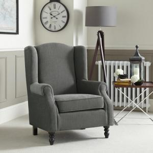 Jaxon Sofa Chair In Grey Fabric With Wooden Legs
