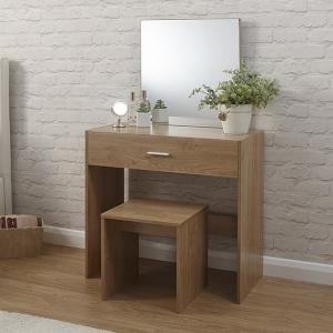 Jayden Contemporary Wooden Dressing Table Set In Oak
