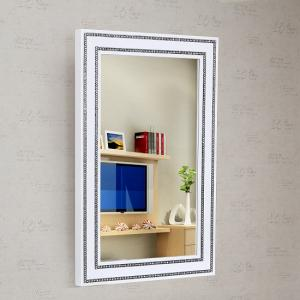 Diamante Wall Mirror In White High Gloss With Rhinestones