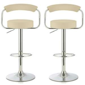 Jerome Modern Bar Stool In Cream Faux Leather In A Pair