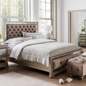 Jessica Wooden Mirrored King Size Bed In Taupe