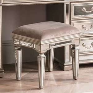 Jessica Wooden Mirrored Large Dressing Stool In Taupe