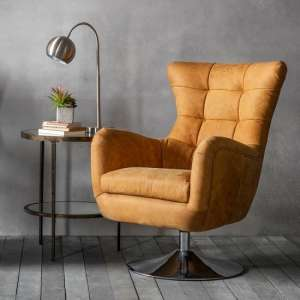 Jester Modern Swivel Lounge Chair In Saddle Tan Leather
