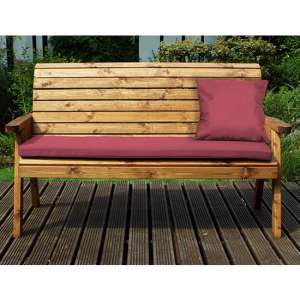 Jestra Traditional 3 Seater Bench With Burgundy Cushion