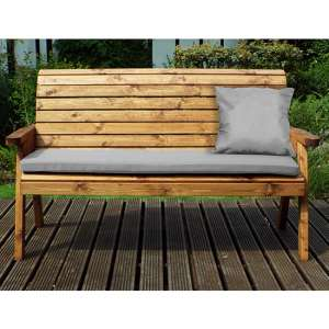 Jestra Traditional 3 Seater Bench With Grey Cushion