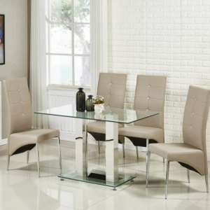 Jet Small Glass Dining Table In Clear With 4 Vesta Taupe Chairs