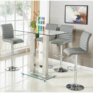 Jet Glass Bar Table In Clear With 4 Ripple Grey Bar Stools