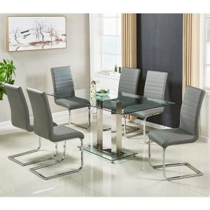 Jet Large Glass Dining Table In Clear And 6 Symphony Grey Chairs
