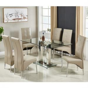 Jet Large Glass Dining Table In Clear And 6 Vesta Taupe Chairs