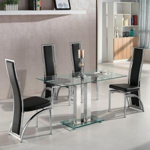 Jet Small Clear Glass Dining Table With 4 Chicago Black Chairs