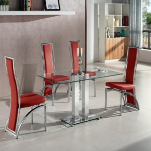 Jet Small Clear Glass Dining Table With 4 Chicago Red Chairs