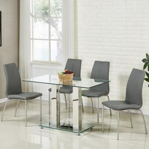 Jet Small Glass Dining Table In Clear With 4 Opal Grey Chairs
