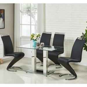 Jet Small Glass Dining Table In Clear And 4 Summer Black Chairs
