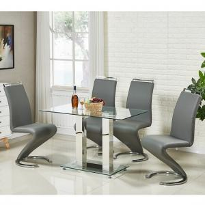 Jet Small Glass Dining Table In Clear And 4 Summer Grey Chairs