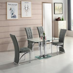 Jet Small Clear Glass Dining Table With 4 Ravenna Grey Chairs