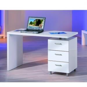 John Computer Desk In High Gloss White With 3 Drawers