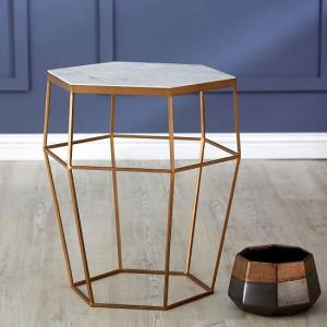 Jolene Hexagonal Side Table In Marble Top And Gold Frame