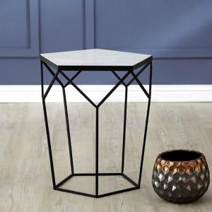 Jolene Pentagonal Side Table In Marble Top And Black Iron Frame