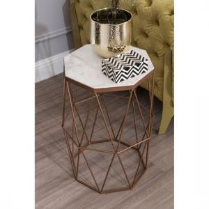 Jolene Octagon Side Table In Marble Top With Gold Frame
