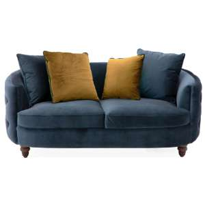 Jools Velvet 2 Seater Sofa In Blue With Scatter Cushions