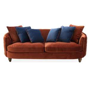 Jools Velvet 3 Seater Sofa In Copper With Scatter Cushions