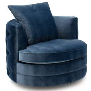 Jools Velvet Swivel Chair In Blue