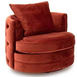Jools Velvet Swivel Chair In Copper