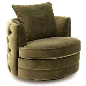 Jools Velvet Swivel Chair In Olive