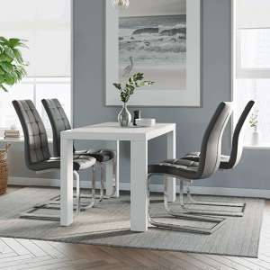 Joule Dining Set In White Gloss With 4 Grey New York Chairs