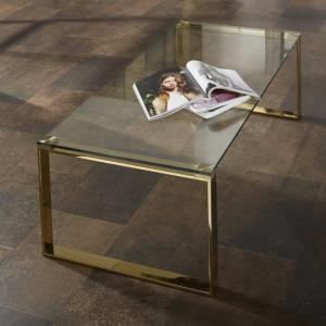 Joyce Coffee Table Rectangular In Clear Glass With Gold Legs
