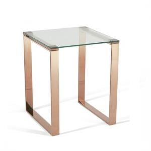 Joyce Lamp Table Square In Clear Glass With Rose Gold Legs